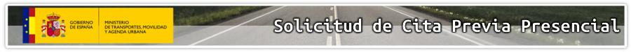 Ministerio de Transportes, Movilidad y Agenda Urbana - Solicitud de cita previa presencial